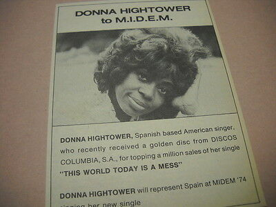 DONNA HIGHTOWER Spanish/American singer Original 1974 music biz promo advert
