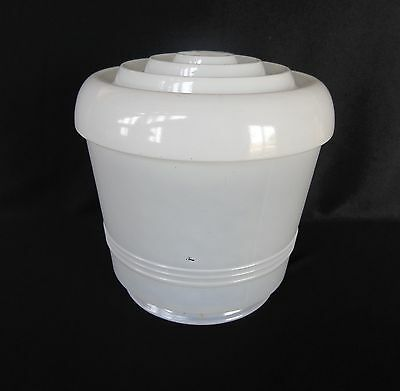 Vintage Light Fixture White Frosted & Clear Glass Dome Skyscraper Glass Shade