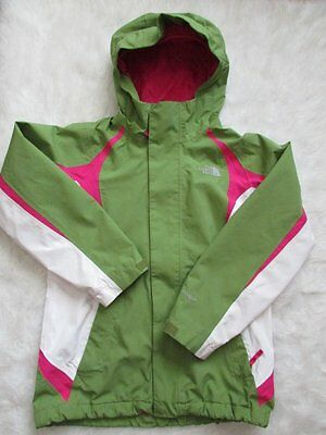 Girls The North Face Hyvent Spring Jacket Sz 10-12 M Green Pink White
