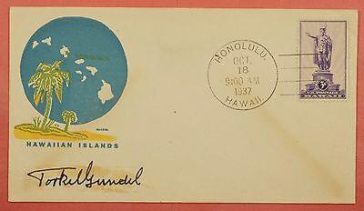 1937 #799 Hawaii Territory 3C Fdc Torkel Gundel Signed Painted Cachet