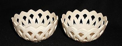 Matching Pair of Leeds Creamware Pottery Reticulated / Pierced Design Bowls