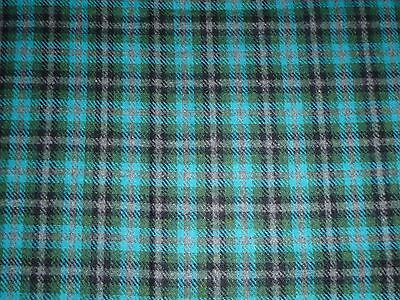 "Vtg Plaid Wool Fabric Turquoise Green Gray 60"" wide x 1.4 Yds"