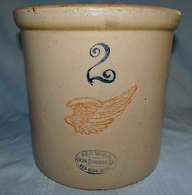 Red Wing Minnesota Large Wing Crock 2 Gallon Union Stoneware Pottery NO CRACKS