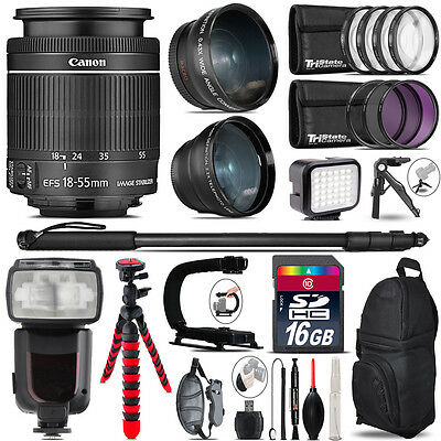 Canon 18-55mm IS STM + Pro Flash + LED Light + Tripod - 16GB Accessory Bundle