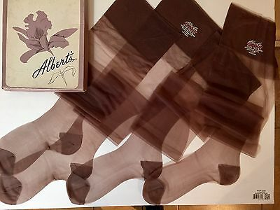 2 Pair Vintage Albert's 10 X 36 Long Velvetized Medium Brown Rht Nylon Stockings