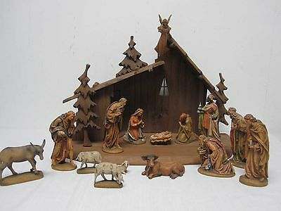 Vintage Oberammegau Germany Gert Conklin Wood Carved Christmas Creche Nativity