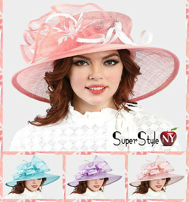 Sinamay Fashion Feather Bow Accented Floppy Derby Kentucky Hat Church Design