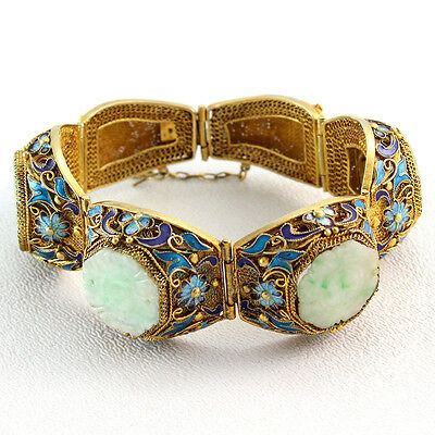Antique Chinese Vermeil Jade and Enamel Hinged Bracelet