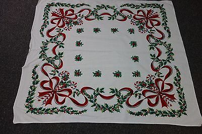"1950's Christmas Tablecloth- 45""x51""-Candy Canes,Holly & Red Ribbons-BRIGHT-SALE"