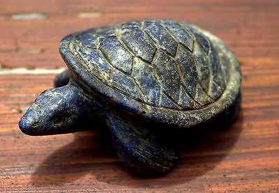 Magnificent Large Ancient Luristan Carved Lapis Stone Turtle Figurine