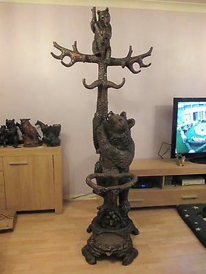 Antique Quality Large  Black Forest Bear Hallstand Swiss Wood Carving