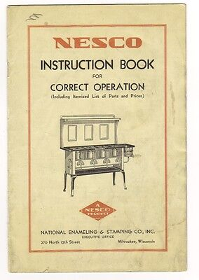 1920s Nesco Kerosene  Stove Instruction Book and Parts List