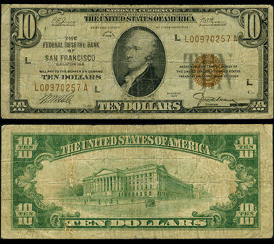 FR. 1860 L $10 1929 Federal Reserve Bank Note San Francisco Better Very Good