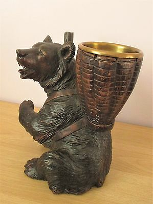 "Antique 9.5"" Quality Chunky Black Forest Sitting Bear Wood Carving Swiss"