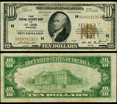 FR. 1860 H $10 1929 Federal Reserve Bank Note St. Louis Pencil Very Fine