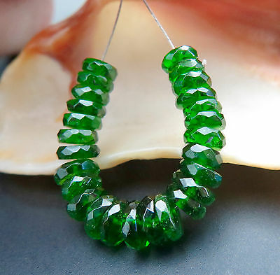 26 VERY FINE AAAAA 4+-5.9mm RICH GREEN CHROME DIOPSIDE BEADS TRANSPARENT - 13+ct