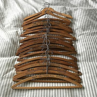 Lot of 20 Vintage ADVERTISING WOOD Wooden CLOTHING HANGERS CALIFORNIA ++