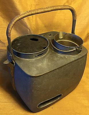 Antique Aluminum Japanese Sake Warmer w Wrapped Copper Handle