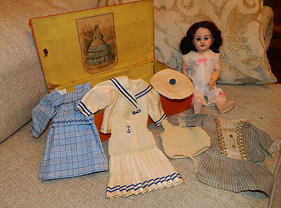 """10.5"""" French or French Market Doll Marked DEP w Wardrobe Bleuette Little Sister"""
