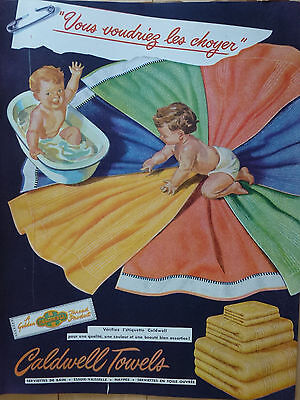 Caldwell Towels 1946 Ad Publicity with Bathing Babies Publicity in French Canada