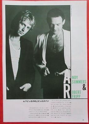 Andy Summers & Robert Fripp King Crimson Police 1982 Clipping Japan A7 T15