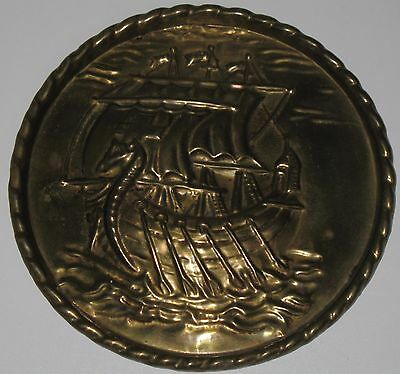 Vintage Brass Viking Ship Wall Plaque Chimney Flue Cover Nautical Small 6-3/8""