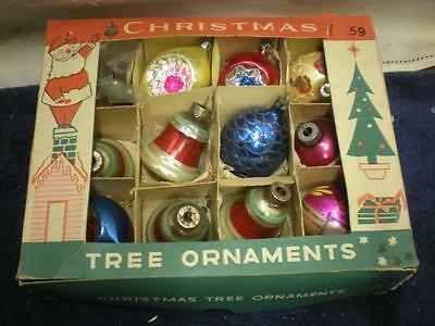 12 Pc. Mixed Lot Vintage Glass Christmas Ornaments Bells Indents in Box