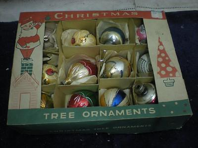 12 Pc. Mixed Lot Vintage Glass Christmas Ornaments Tear Drops Indents in Box