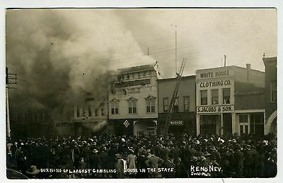 Rppc – Nevada – Reno – Burning Of The Largest Gambling House In The State  Ca. 1