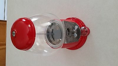 "Vtg 1985 RED CAROUSEL JR GUM BALL Candy MACHINE 12"" Glass Globe & Metal"