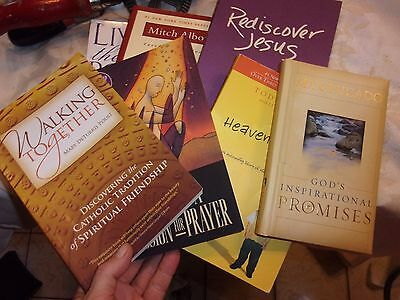 Lot of 7 religious books - mitch album max lucado heaven is for real LOTFOL