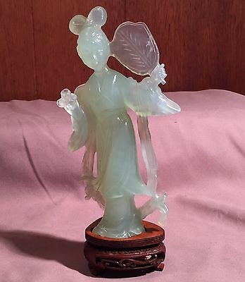 Old Carved Jade Statue Of Elegant Woman On Stand