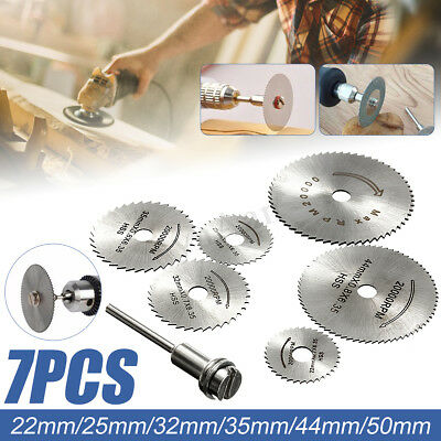 7 x HSS Circular Wood Cutting Saw Blade Discs Mandrel Drill For Rotary Tool Kit