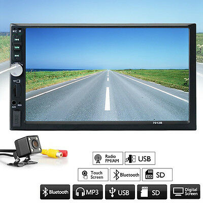 7'' Double 2DIN Car MP5 MP3 Player Bluetooth Touchscreen Stereo Radio w/ Camera