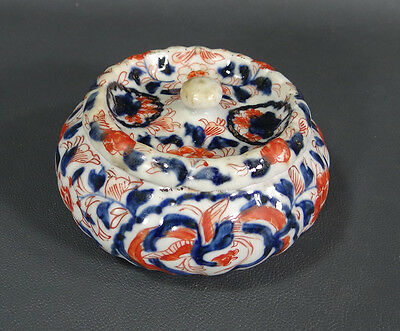 Antique China Chinese Kangxi Porcelain Lidded Powder Box Blue Copper Red Phoenix