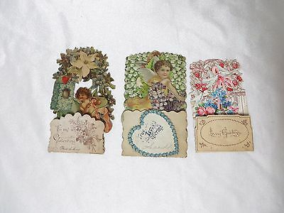 Vintage Valentine 20s Embossed Die Cut Cards Germany Upcycle Scrapbook Craft