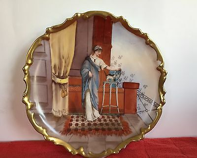 Antique Limoges Large Plate Woman w Kitten & Ornate Gold Rim by Muville 10.25 D