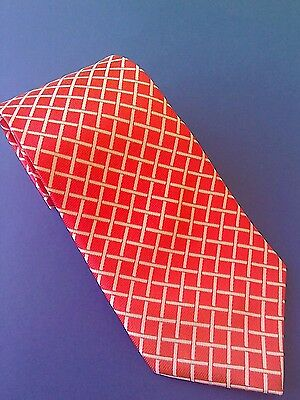 New Adults Silk Show Tie Red With White Lattice