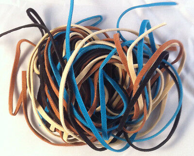 3mm Leather Suede Thonging Lacing Beige/Black/Brown/Turquoise -2m of each colour
