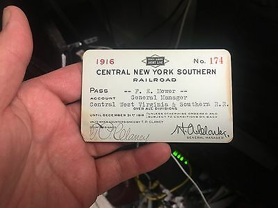 Rare 1916 CENTRAL NEW YORK SOUTHERN Railroad Pass #174 1914-1923