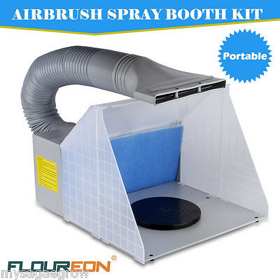 NEW 25W Portable Airbrushing Spray Booth Hose Filter Turn Table Extractor Set UK