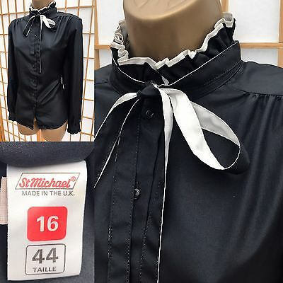 M&S Vintage Black Blouse Top Size 16 High Ruffle Neck Long Sleeve Governess 539