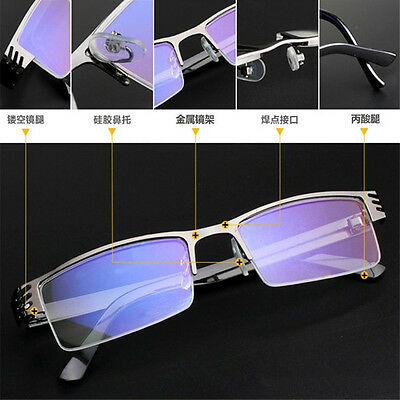 High quality Men Half frame Style Blue Film Anti-radiation Reading glasses