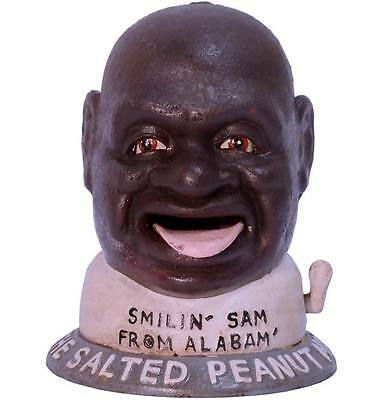 Gusseisen AUTOMAT SMILING SAM FROM ALABAMA US-DESIGN SPARDOSE SALTED PEANUT MAN