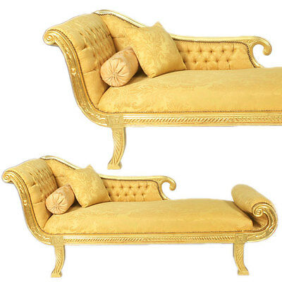 Barockstil Kleopatra Sofa Chaiselongue Day Bed, Luxus Liege, Recamiere Gold-Gelb