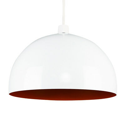 Contemporary Gloss White & Orange Round Dome Ceiling Light Lamp Shade Lampshade