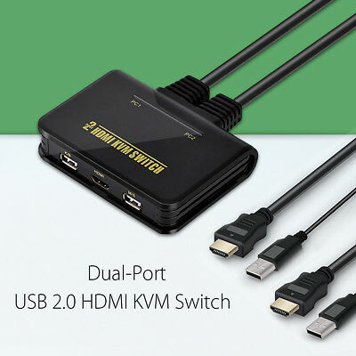 2 Port USB2.0 HDMI KVM Switch Switcher Mit Kabel Fr Dual Monitor Tastatur Maus