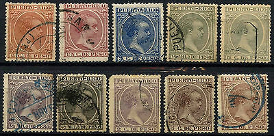 "Puerto Rico Spanish Colony 1890-8, 10 Different ""Baby"" Stamps Used #D49956"