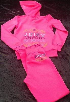 NWT Juicy Couture New Pink Cotton Tracksuit Juicy Charm School Logo Girls Age 8