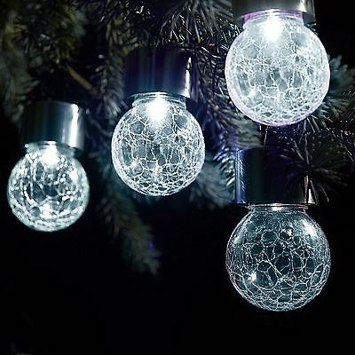 3 x Solar Stainless Steel Hanging Crackle Globe Ball Lights Outdoor Garden White